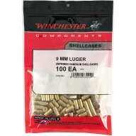 Winchester Brass 9mm Luger Unprimed Bag of 100
