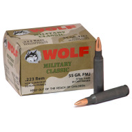 WOLF AMMO 223 REMINGTON 55g FMJ MILITARY-CLASSIC 20b 25c