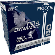 "FIOCCHI AMMO 20ga 3"" HIGH-VEL 1200fps 1.25oz #4 25b 10c"