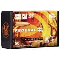Federal 338cal (.338) Fusion 200gr BT Bullet Box of 50