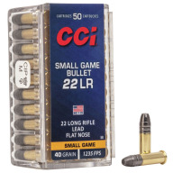 CCI AMMO 22LR 40gr LFN SMALL GAME 50/bx 100/cs