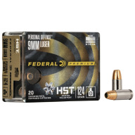 FEDERAL AMMO 9MM LUGER 124gr HST JHP (P/D) 20/bx 10/cs