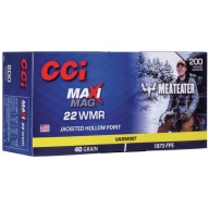 CCI Ammunition 22 Mag 40gr JHP Maxi Mag Meat Eater Box of 200